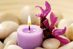 Kerze und Lavendel lizenzfreies stockbild