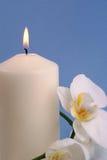 Kerze und Orchidee Stockfoto