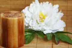 Kerze und Pfingstrose auf der Bambusmatte horizontal Lizenzfreies Stockbild