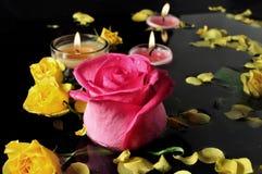 Kerze und Rosen Stockfotos