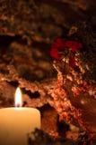 Kerze und stieg Stockbild