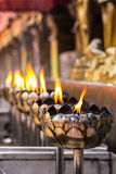 Kerze Vesak Bucha im thailändischen Tempel in Chiangmai Thailand Stockbild