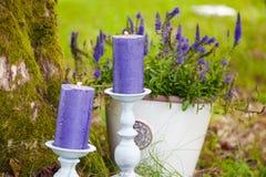 Kerzen auf Gras Stockfotografie