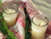 Kerzen-Blumenstrauß Stockfoto