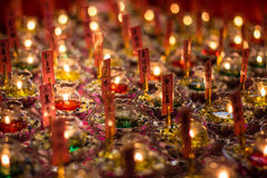 Kerzen Buddhas Toth Relikt-Tempel- Stockfotografie