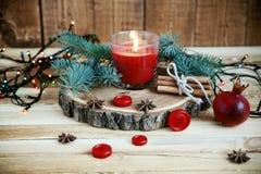 Kerzen der Weihnachtstabelle decoration Stockbild