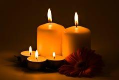 Kerzen, die in der Dunkelheit brennen Stockbilder