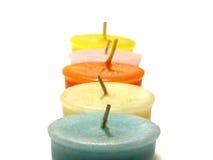 Kerzen in einer Zeile Stockfotografie