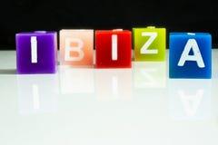 Kerzen formulieren das Wort IBIZA Stockbilder