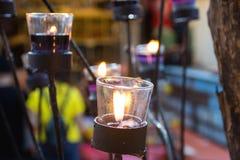Kerzen im Glas Stockfotografie