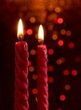 Kerzen mit bokeh Hintergrund Lizenzfreie Stockfotos