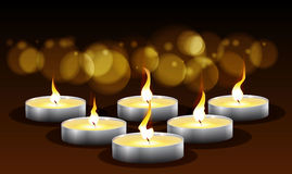 Kerzen mit Lichtern und bokeh, Lizenzfreie Abbildung