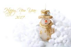 Kerzen-Schneemann und Schneeball verzieren für guten Rutsch ins Neue Jahr der frohen Weihnachten auf weißem Hintergrund mit Text Lizenzfreie Stockbilder