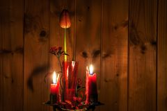 Kerzen und eine Tulpe Stockbild