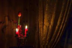 Kerzen und eine Tulpe Lizenzfreie Stockbilder