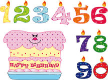 Kerzen und Kuchen für Geburtstag Stockbilder