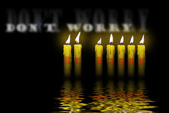 Kerzen und Wörter sorgen sich nicht sind glücklich vektor abbildung