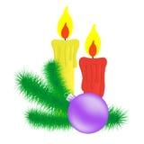Kerzen- und Weihnachtsniederlassung. Lizenzfreie Stockbilder
