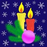 Kerzen- und Weihnachtsniederlassung. Stockfotos
