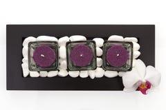 Kerzen, weiße Steine und Orchideeblüte. Stockbild