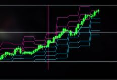 Kerzenständerdiagramm des Vorrates oder des Währungspreiswachstums Investitionen in den Firmen und in den cryptocurrencies stock abbildung