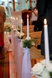 Kerzereihe in der Kirche Lizenzfreie Stockbilder