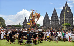 Kesanga the ceremony,. Hindu People bring ogoh-ogoh in Prambanan temple complex. Ahead of Nyepi Hindu religious ceremony or ritual Tawur Kesanga Tawur. The Royalty Free Stock Images