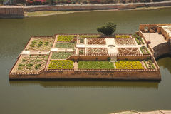 Kesar Kyari Gardens from Amber palace, Jaipur, India. Royalty Free Stock Photo