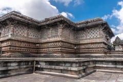 Kesava寺庙特写镜头在Chennakeshava寺庙复合体的在贝耳 免版税库存图片