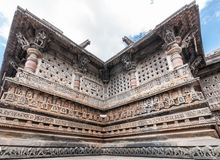 Kesava寺庙特写镜头在Chennakeshava寺庙复合体的在贝耳 图库摄影