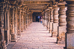 Keshava Temple in Somnathpur in India. This is the long pathway beside the main entrance showing great maneuver stock photography