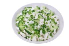 Keso med gurkan och gräslökar Royaltyfri Foto