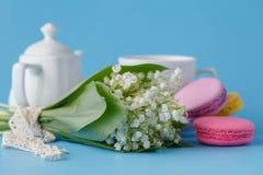 Kessel und Schalen mit Frühlingsblumen Stockfotos
