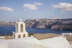 Kesselansicht von Aktorini-Dorf, Santorini Griechenland Lizenzfreie Stockfotografie