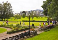 Keswick的, Cumbria一个繁忙的乌鸦公园 库存照片