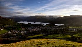 Keswick and Derwent water. From Latrigg Royalty Free Stock Photos