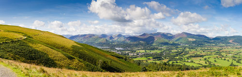 Keswick, lake Derwent Water and the fells panorama, Cumbria, UK. Panoramic view of Keswick, lake Derwent Water and the fells from Latrigg, Cumbria, UK Stock Images