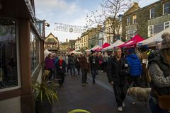 Keswick victorian fayre. Victorian fayre in Keswick west cumbria on a cold but sunny day in december Stock Image
