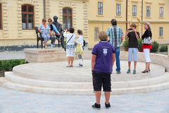 Keszthely. HUNGARY - AUGUST 11: Tourists take photos on August 11, 2012 in , Hungary. In 2011 tourism receipts in Hungary brought 4.03 billion EUR to national Stock Photography