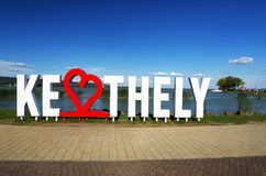 Keszthely letters in summer time at beach of Keszthely at Lake Balaton, Hungary. Keszthely letters in summer time at beach of Keszthely at Lake Balaton in July stock image