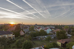 Keszthely sunset cityscape in Hungary. Typical hungarian building and houses. Royalty Free Stock Image