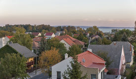 Keszthely sunset cityscape in Hungary. Typical hungarian building and houses. Royalty Free Stock Images