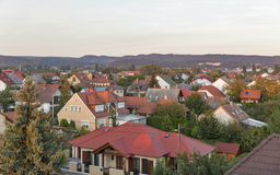 Keszthely sunset cityscape in Hungary. Typical hungarian building and houses. Stock Images