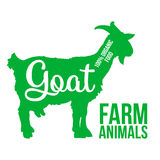 Ketch of a goat with horns and udder. Green contour farm animal with a white lettering  inscription inside, Logo goat vector animal, outline for the product Stock Photography