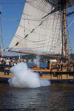 The ketch, Hawaiian Chieftain, fires her cannon Stock Images