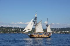 The ketch, Hawaiian Chieftain, sails on Lake Washington Stock Images