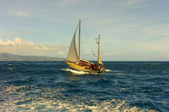 A ketch under sail in the bequia channel Royalty Free Stock Images
