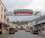 Ketchikan Alaska Shopping District Royalty Free Stock Images