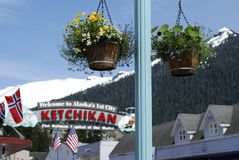 Ketchikan City. The buckets of flowers with Ketchikan welcome sign in a background (Alaska stock photos