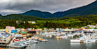 Ketchikan Marina. Ketchikan, AK, USA - May 24, 2106:  View of the boat harbor and marina in Ketchikan, Alaska Stock Photography